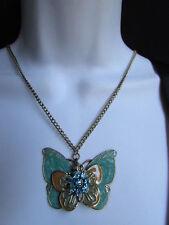 "NEW WOMEN LONG GOLD FASHION NECKLACE BIG BLUE BUTTERFLY FLOWER PENDANT 17"" DROP"