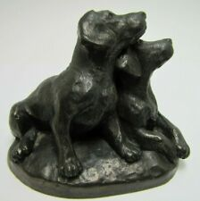 Bronze Clad Pair Labrador Puppies Made in England Decorative Art Small Statue