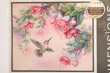 "Dimensions Lena Liu Stamped Cross Stitch Kit 14"" x 12"" Hummingbird & Fuchsias"