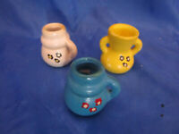 3x Krug Vase Amphore Bauernmalerei für Puppenstube Puppenhaus Bauernstube