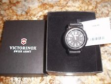 Victorinox Swiss Army mans large gunmetal Cavalry Watch  black leather 24532