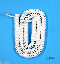 BIANCO 6.4 M Phone Handset Cable Cord telefono Lead avvolta 98cm