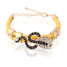 Yellow PU Leather Black Snake Rhinestones Charm Wrap Bracelet Girl Bangle BB85