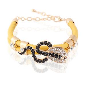 Wrap Bracelet Girl Bangle Yellow PU Leather Black Snake Rhinestones Charm BB85