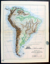 1873 Johnston Antique Topographical Map of South America