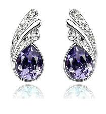 Amazing Purple Crystal Angel Wings Silver Studs Earrings Rhinestone E368