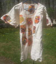Maya Mexican Blouse Top Shirt Embroidered Flowers Chiapas Ivory White 2XL XL #3E