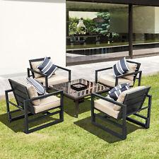 OUTSUNNY-Set di Mobili da Giardino 4 Poltrone Eleganti Alta Qualità con Cuscini