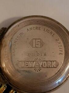 Remontoir Ancre Ligne Droite 15 Rubis      New York alte Silber 0.875 Taschenuhr