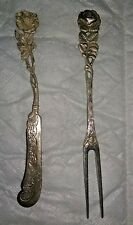 STERLING ANTIKO FIGURAL ROSE BUTTERKNIFE(835) and OLIVE FORK(800) circa1930s