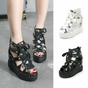 Women High Heels Lace Up Hidden Platform Flower Toe Sandals Roman Gladiator Boot