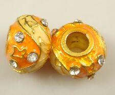 Clover Faberge Egg Bead Drip Gum Lime Clear Crystal Fit sterling 925 Bracelet 8b