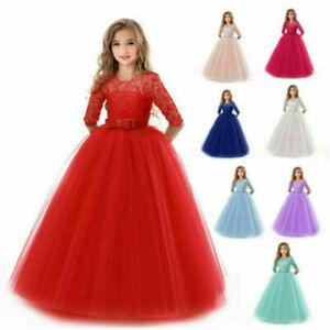 Mädchen Prinzessin Kleid Party Hochzeit Kinder Kommunion Abendkleid Ballkleider