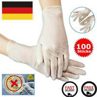 100 Stück Latexhandschuhe Puderfrei Einmalhandschuhe Einweghandschuhe S-XL