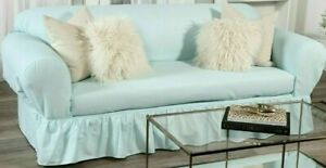 """NEW washed Cotton duck 3-seater Sofa Slipcover 2 piece Tiffany Blue up to 92"""" W"""