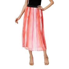 NY Collection 8200 Womens Pink Printed Shutter Pleat Pull On Maxi Skirt XL BHFO