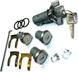New GM OEM Chrome Ignition/Doors/Trunk Lock Key Cylinder Set Keyed Alike 4 Locks