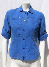Coldwater Creek Blue Chambray Denim Tencel Linen Jean Jacket Top size S 6
