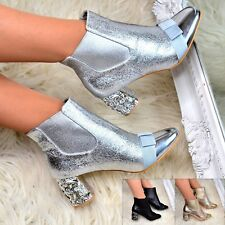Womens Block Mid Heel Ankle Boots Metallic Pull on Jeweled Booties Party Size