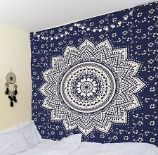 Silver Blue Wall hanging Ombre Mandala Tapestry Orion Medallion Indian Hippie