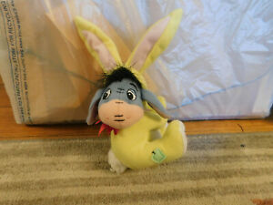 """2002 Plush EEYORE in Yellow Bunny Suit 5"""" Winnie the Pooh Fisher Price Easter"""