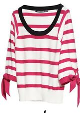 Sonia Rykiel for H & M Striped Pink/Wht/Blk  Pullover sweater 3/4 Sleeve, Sz S