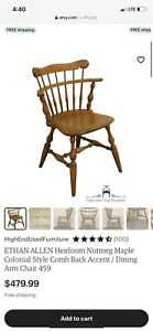Ethen Allen Heirloom Nutmeg Maple Colonial Style Comb Back Chairs (4)