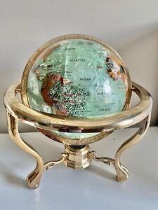 "SEMI-PRECIOUS STONE INLAY World Globe BRASS STAND W/COMPASS 14"" PEARLY GREEN"