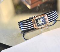 1940 ROLEX Vintage Pink Gold Watch Deco Rectangular RARE Hood Lugs Tuxedo 2Dial