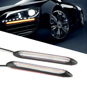 2X DRL Car LED Strip Daytime Running Light White/Yellow Turn Signal Sequential
