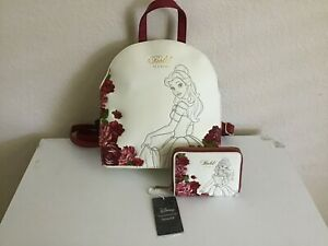 Disney Loungefly Bold as a Rose Beauty and the Beast Mini Backpack Wallet NWT