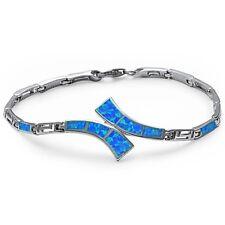 Blue Fire Opal Greek Key Design .925 Sterling Silver Bracelet
