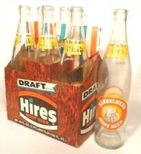 vintage ACL pop SODA BOTTLE item: HIRES BARRELHEAD ROOT BEER carrier & 6 bottles