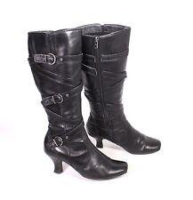 28S Damen Stiefel Boots Leder schwarz Gr. 38 Schnallen Biker-Look hoher Absatz