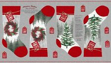 "23"" Fabric Panel - Henry Glass Holiday Traditions Country Christmas Stocking Gra"