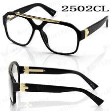 Retro Vintage 80s Fashion Clear Lens Eye Glasses Men Women Pilot Aviator Frame