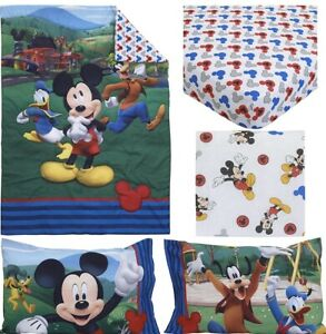Disney Mickey's Big Adventure Blue, Red, Yellow & Green 4Piece Toddler Bed Set