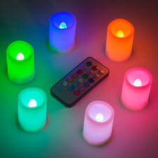 6x Flickering Flameless LED Color Changing Candles with Remote&Timer Xmas Party
