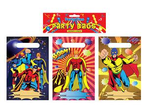 12 Super Hero Empty Party Bags - Toy Loot Gift Wedding/Kids Plastic