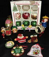 Vintage Christmas Ornaments Misc. Lot Of 19 Wooden Glass Stenciled Franke