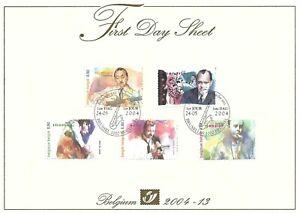 [FDS132] Belgium FDS 2004-13 Music First Day Sheet SUPERB