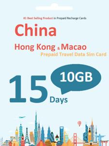 China Travel - 15 Days Prepaid Travel data SIM card 10GB Data incl. HK Macao