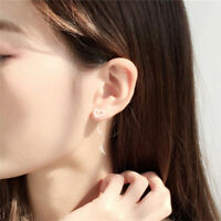 Fashion Long Tassel Chain Earrings Women Crystal Hoop Ear Stud Jewelry JA