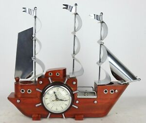 Vintage Mid Century United Wooden Ship Clock 3 Flags Model 811 - Tested & Works