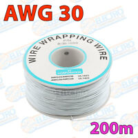 Bobina AWG30 - BLANCO - 200m Cable Hilo WRAPPING electronica soldar