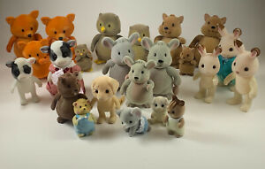 Lot of 23 Flocked Animal Figures family woodzeez calico critters toy fox owl cow