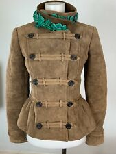 NWT BURBERRY PRORSUM BEADED SHEARLING SUEDE MILITARY JACKET SIZE 38 $5500