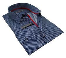 Chemise Homme bleu marine à motif blanc cintrée Enzo Di Milano 100% coton T.XL