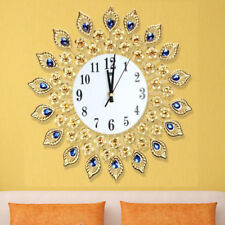 Modern DIY Crystal Jeweled Beaded Sunburst Peacock Wall Clock Gold Room Decor
