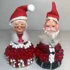 """A Pair of Santa & Mrs. Claus Beaded Figurines with Rubber Heads 4"""""""